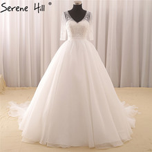 White Half Sleeve V-Neck Sexy Wedding Dresses 2017 Pearls Sequined Fashion Tulle Bridal Wedding Dresses Robe De Mariee