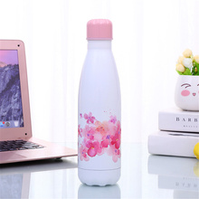 Floral Water Bottle BPA free Stainless Steel Beer Tea Coffee Thermos Drink Travel Sport Gym Insulated Cup