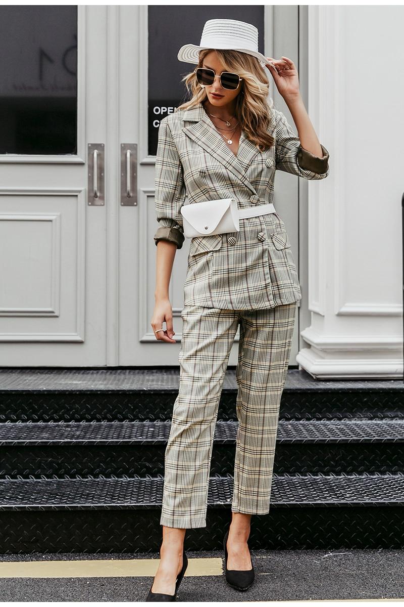 Simplee Plaid double breasted women blazer suit set Long sleeve office ladies pant suits female Casual streetwear trouser suit