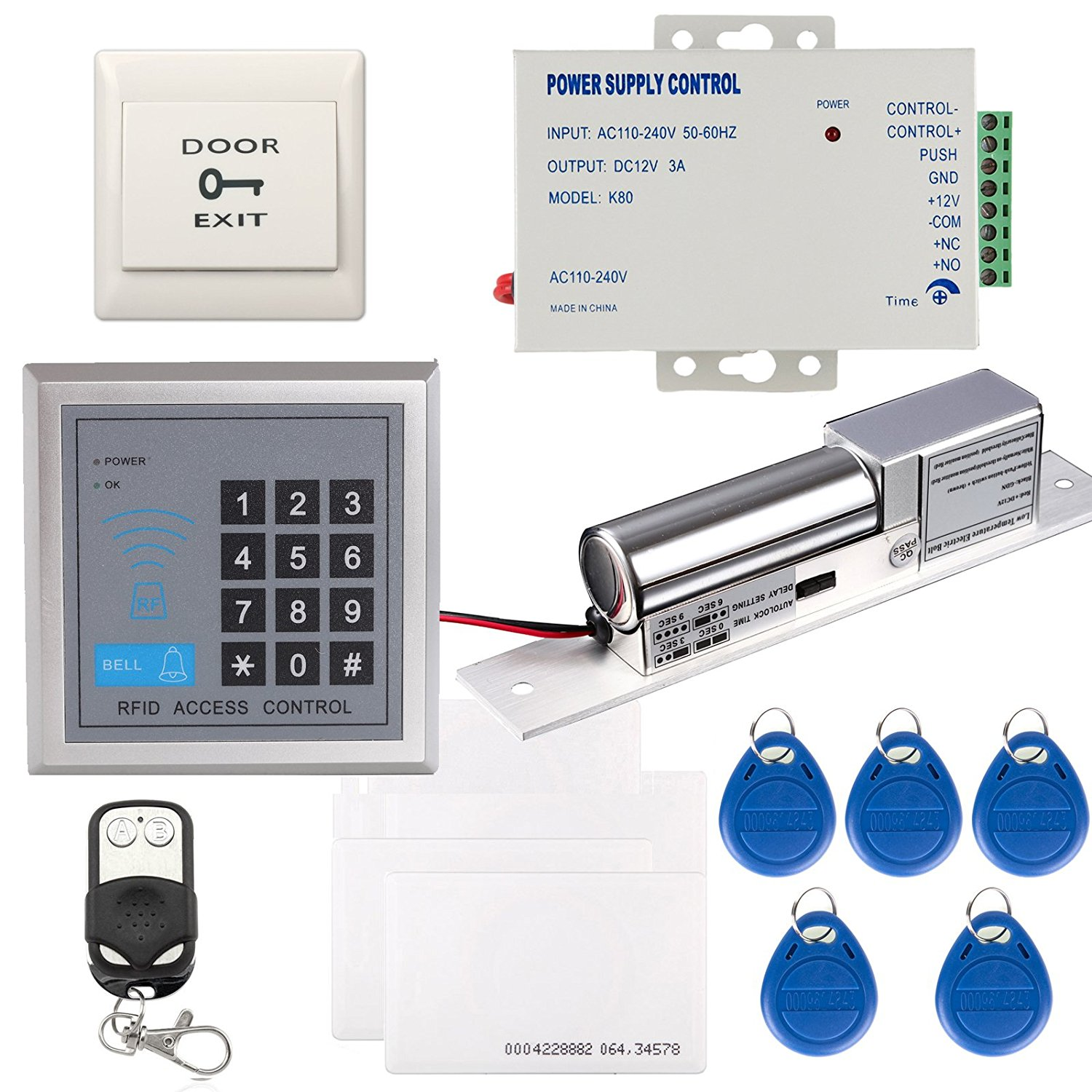 OBO HANDS Full Complete 125KHz EM-ID Card Stand-alone Access Control System Kit & Electric Bolt Lock Remote Control