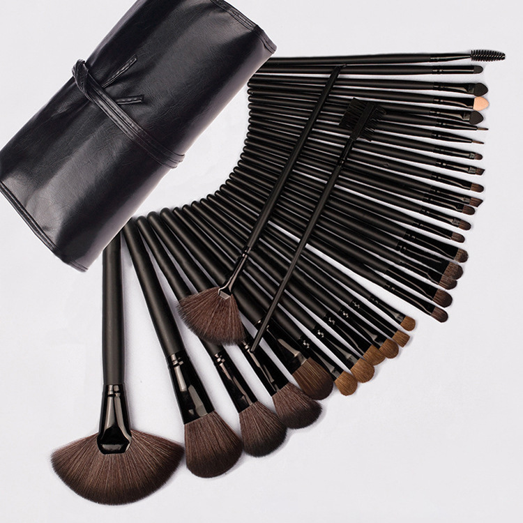 good quality professional 32pcs in 1 set makeup brushes set with PU leather bag original ni pci 7340 selling with good quality and professional