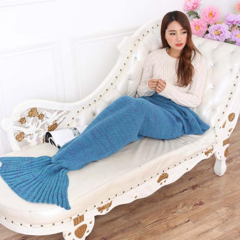 knitted Super Soft Mermaid Tail Blanket for Crochet Snuggle Mermaid All Seasons Handmade Sleeping Bag Blanket