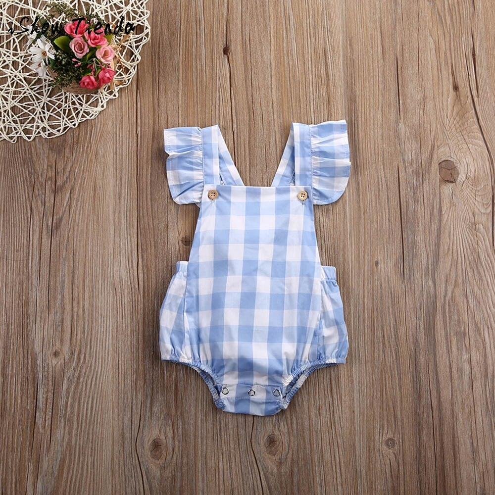 overalls for kids baby sleeveless bodysuits cotton infant Cotton Plaid Jumpsuit baby romper summer newborn onesie baby costumes