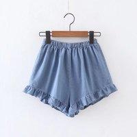 Hoffen Summer Style Women Denim Shorts High Waist Ruffles Loose Jeans Shorts Fashion Casual High Quality Hot Shorts Mujer WS232