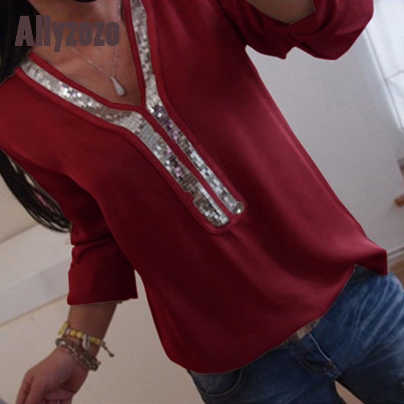 1305 Allyzozo Spring Summer Long Sleeve Chiffon   Blouse     Shirt   Plus Size 5xl Sequined Patchwork Tops   Shirts   Clothing