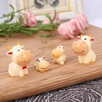 Conjunto de 4 unidades de vaca familiar, vaca, madre, vaca, bebé, adornos de paisaje en miniatura de hadas bonsái de jardín DIY, Mini Accesorios