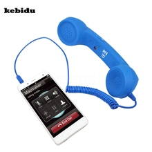 Kebidu nowy klasyczny Vintage POP telefon komórkowy słuchawka dla Iphone 3.5mm komfort Retro telefon słuchawka Mic głośnik telefon zadzwoń odbiornik