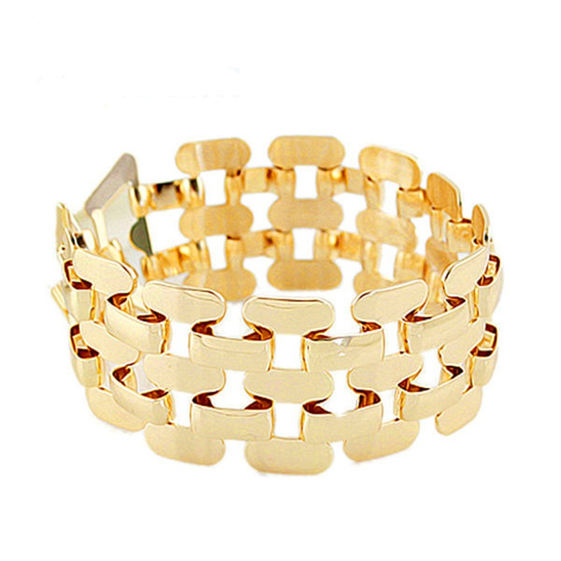 Gold Color Stainless Steel Hollow Out Punk Bracelet And Bangs