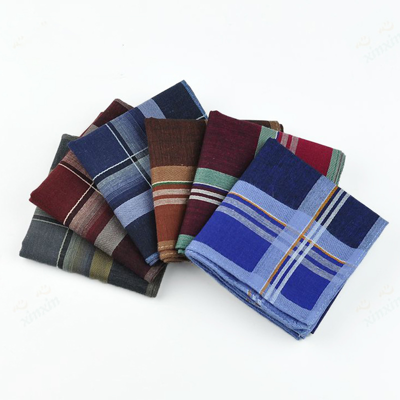 12pcs/lot New Striped Plaid Wedding Handkerchief Men Festival Party Handkerchiefs 38*38cm Cotton Fabric Hanky Male Pocket Square