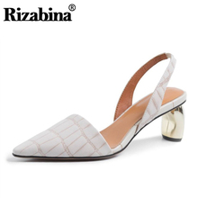 RIZABINA Mid Heels Summer New Spring Genuine Leather Sandals Party Wedding Office Ladies High Heel Shoes Women Club Size 34-40