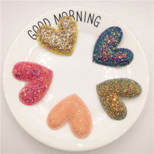 5pcs/lot 5cm Glitter Paillette Padded Heart Patches Appliques For Clothes Sewing Supplies DIY Craft Decoration