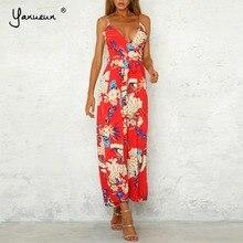 Yanueun Summer Sexy V Neck Floral Print Full Length Jumpsuit Women Elastic  Crepe Lace Up High fa0cbe17462a