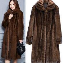 2020 sahte vizon kürk ceket kadınlar kış yeni sahte kürk mantolar kadınlar için uzun yapay kürk taklit kürk ceketler artı boyutu 6Xl X935