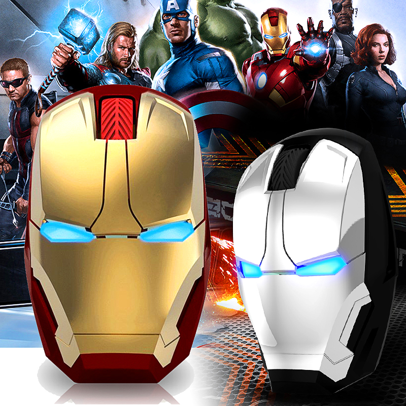 Iron Man Mouse Wireless Mouse Gaming Mouse 2400 DPI Gamer Computer Mice Button Silent Click Adjustable Computer