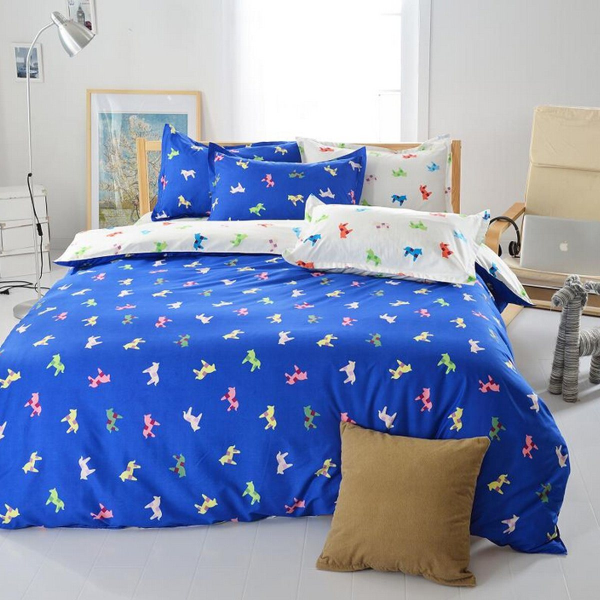 polyester bedding blue animal horse printed bed set home textile quilt duvet cover pillowcases bed sheet - King Size Bed Sheets