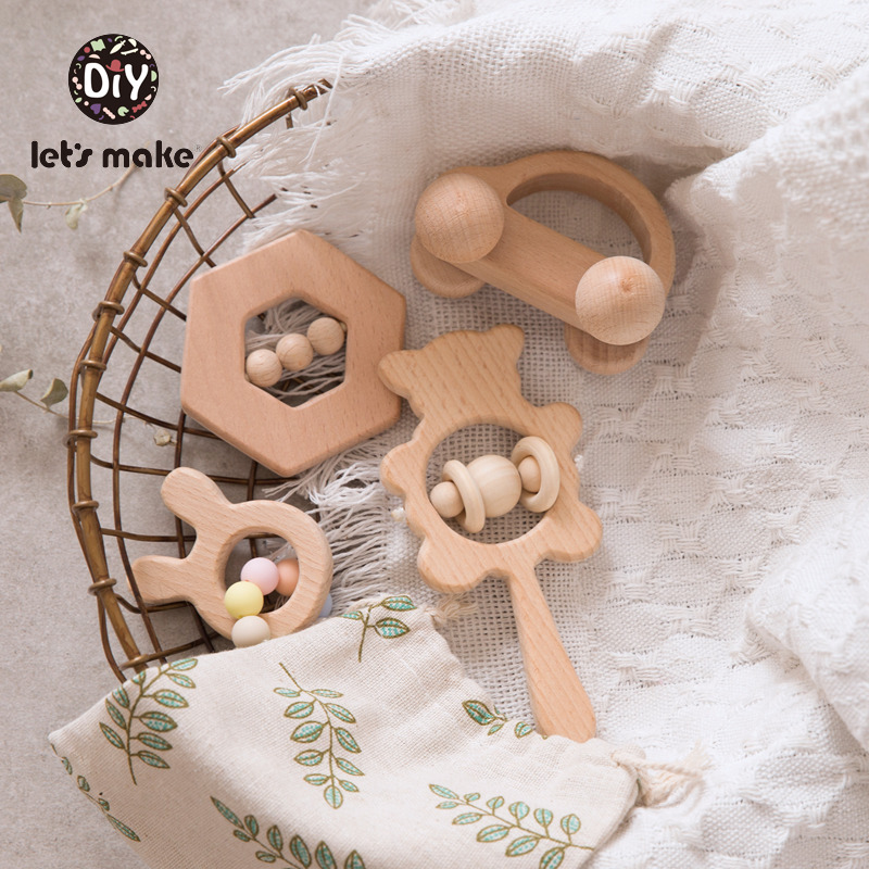 Let' S Make 4pcs Baby Rattle Set Hand Teething Beech Wooden Ring With Silicone Beads Bear Animal Rattles Educational Baby Toys