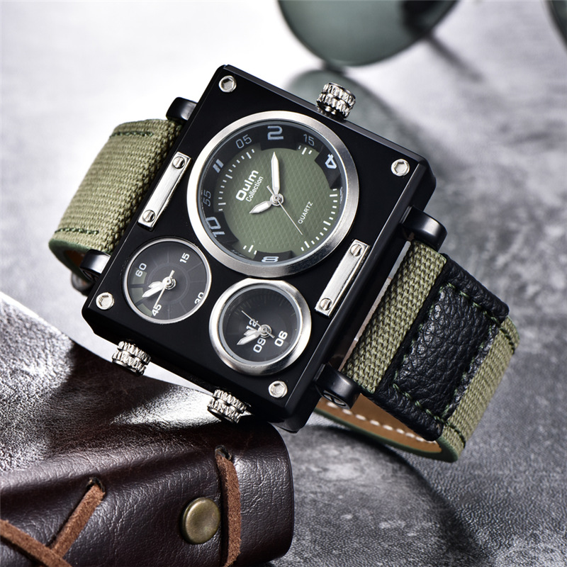 Oulm Hot Sale Dropshipping Multiple Time Zone Watch Square Big Dial Casual Fabric Strap Wristwatch Sport Men's Quartz Watches