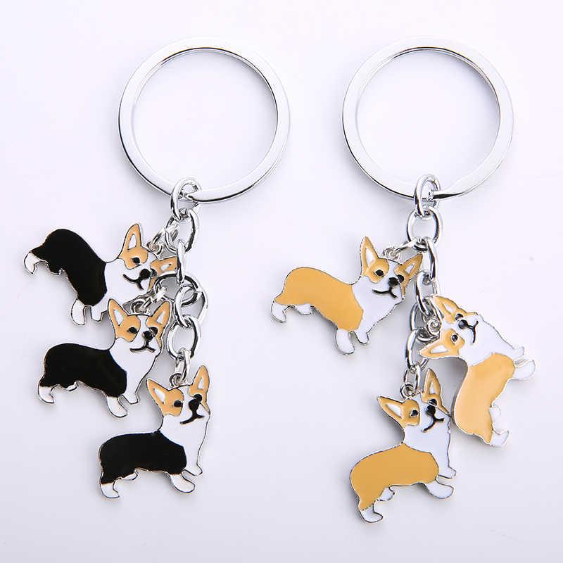 NEW Dễ Thương Welsh Corgi Dog Key Chain Cho Phụ Nữ Túi Xách Mặt Dây Chuyền Keychain Vòng Chìa Khóa Người Đàn Ông Chìa Khóa Xe Giữ Nét Duyên Dáng Đồ Trang Sức TÔI TÌNH YÊU CON CHÓ QUÀ TẶNG