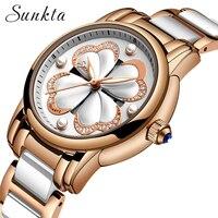 Sunkta novo vestido de luxo das mulheres relógios strass relógio de quartzo feminino relógio rosa ouro aço inoxidável moda senhoras relógio de pulso|Relógios femininos| |  -