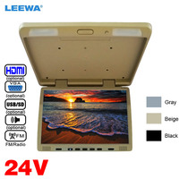 LEEWA 12V/24V Truck Bus 17 inch TFT LCD Roof Mounted Monitor Flip Down Monitor For Car DVD Player USB SD FM VGA Speaker HDMI