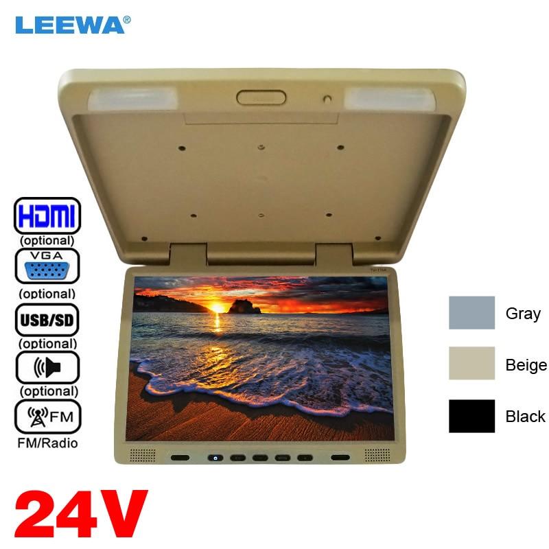 LEEWA 24 V Грузовик Автобус 17 дюймовый TFT ЖК монитор для монтажа на крышу отвесной монитор для автомобиля DVD проигрыватель USB SD FM VGA динамик HDMI