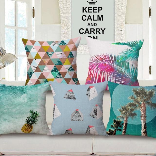 Decorative Cotton Linen Cushion Cover 45x45cm Capa De Dlmofada Sofa Bedding Throw Pillow Case Beach Coconut