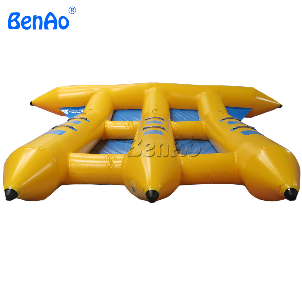 B018 BENAO Free shipping 6 person Inflatable flyfish banana boat/ PVC Inflatable Flying Fish Towable for water games free shipping 3 3 1 2m water banana boat for sport games