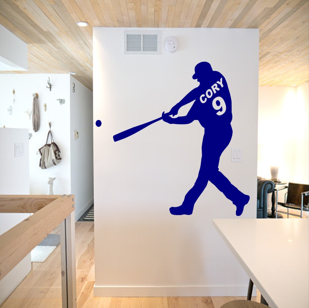 Personalized Name and Number Baseball player Wall Decal Art Boys Name Sports Baseball Wall Decor Sticker Vinyl Bedroom NY 392 in Wall Stickers from Home Garden