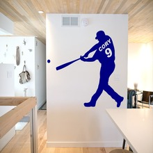Personalized Name and Number Baseball player Wall Decal Art Boys Sports Decor Sticker Vinyl Bedroom NY-392