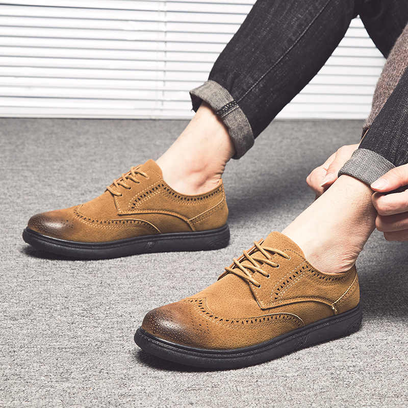 44425e1409604 Mens Oxfords Leather Basic Dress Formal Brogue Shoes Man Fashion Classic  Europe Luxury Gentry Style Best