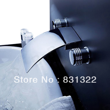 Free shipping Luxury three piece bathroom faucet brass chromed basin tap  wall mounted waterfall faucetOnline Buy Wholesale waterfall wall mounted bathroom faucet from  . Three Piece Bathroom Faucet. Home Design Ideas