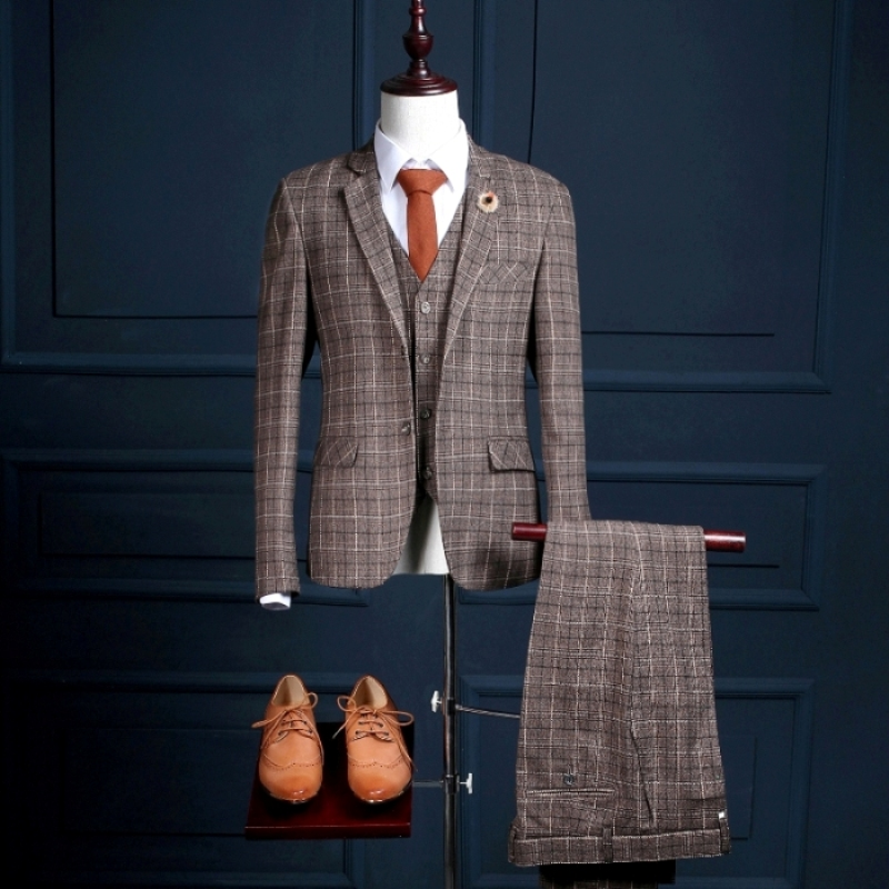 NA19 Latest Coat Pant Plaid Mans Formal Party Wear Achkan Tuxedos Suit (Coat+Pants+Vest) Male Ternos Casamentos Designer Suits ...