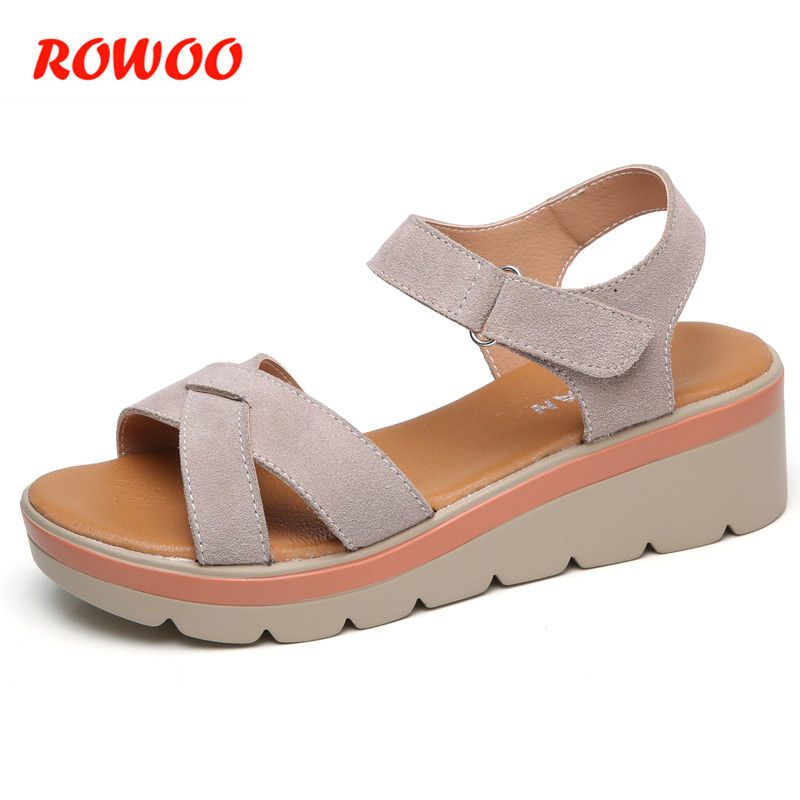 2018 Women Sandals Suede Leather Wedges Thick Heel Women Summer High Heel Shoes Gladiator Sandals Ladies Platform Sandals Female sandals women summer suede female gladiator roman 6cm wedges shoes