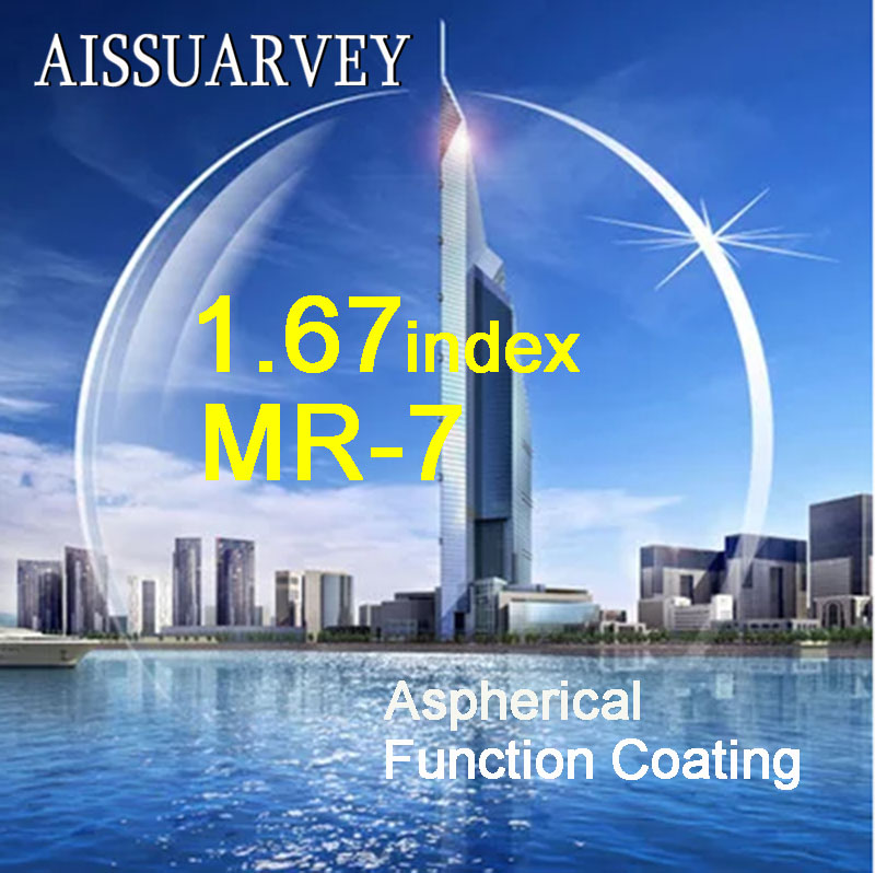 1 67 Index Aspherical Transparent Lenses MR 7 Clear Function Green Coating Top Quality Anti glare