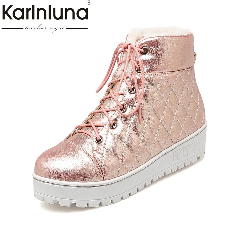 KARINLUNA 2017 gold pink sliver lace up casual winter shoes women comfortable flat heel warm plush ankle boots woman short boots plush casual suede shoes boots mens flat with winter comfortable warm men travel shoes patchwork male zapatos hombre sg083