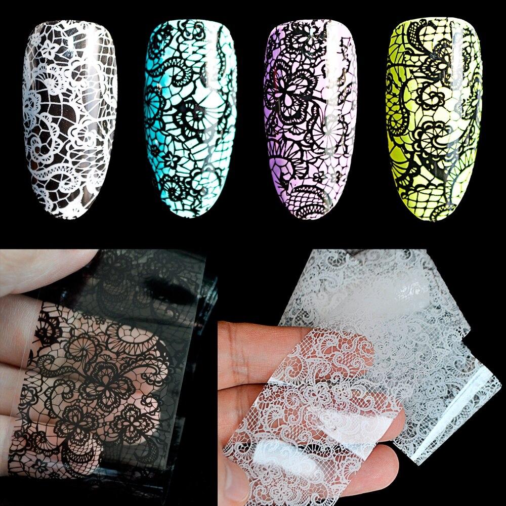 Black / White Lace Flowers Nail Art Transfer Foils Nail Adhesive ...