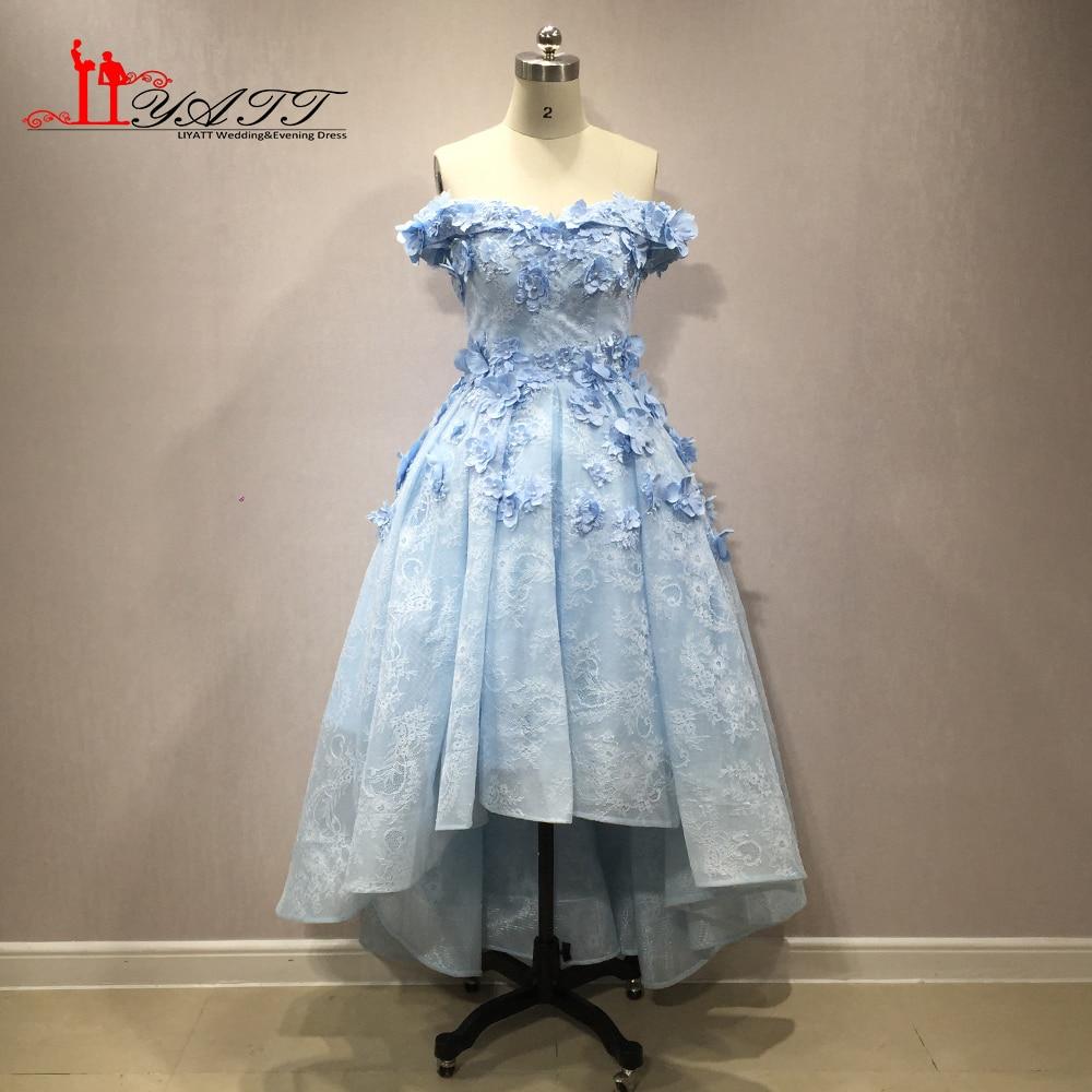 b14d88bdca7 2018 New Arrival Off The Shoulder Blue 3D Flowers Beading Luxury Vintage  Arabic Formal Puffy Evening Prom Dresses LIYATT