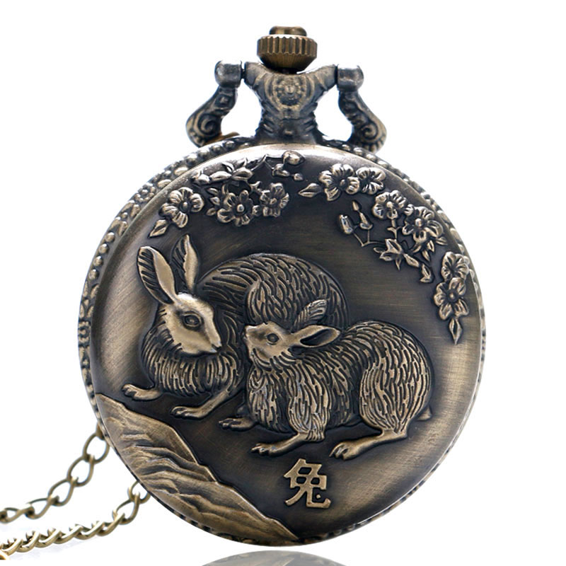Fashion Chinese Style Zodiac Rabbit Bunny Beautiful Necklace Retro Quartz Pocket Watch Pendant Women Men Watches Gifts Item