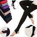 Mulheres inverno Calças quentes Mulheres de Malha Meia-calça Meias calças Quentes de Espessura de Veludo Sólida Sexy skinny calças slim para as mulheres