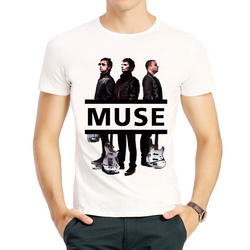 Muse Band   T     shirt   Short Sleeve O Neck Fashion Mens White Color Trendy Band Muse Logo   T  -  shirt   Top Tees tshirt Muse Fans   T  -  shirt