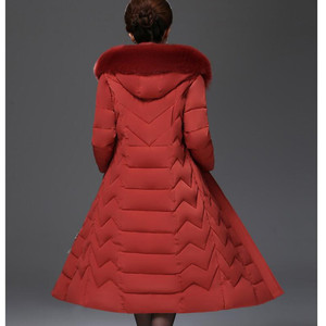 Image 5 - معطف شتوي باركاس نسائي كبير الحجم متوسط العمر معطف طويل من القطن السميك الدافئ ضد الرياح ياقة فرائية للنساء معطف بقلنسوة 5XL