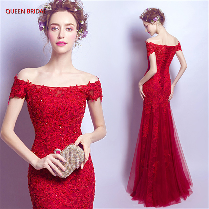 Sexy Fashion Red Mermaid Evening Dresses Tulle Lace Beading Long Formal Bride Party Dress Evening Gown vestido de noite DR20M