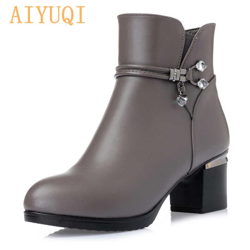Kadın çizmeler kadın hakiki deri çizmeler hakiki deri yüksek topuklu yarım çizmeler kalın yün kış kar botları ücretsiz kargo
