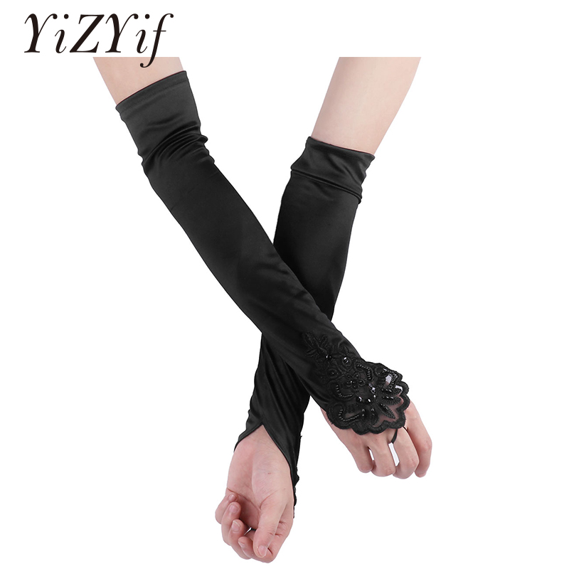 YiZYiF Women Long Gloves Elbow Length Long Flapper Evening Opera Satin Gloves Costume Clubwear For Women Dance Gloves Fashion