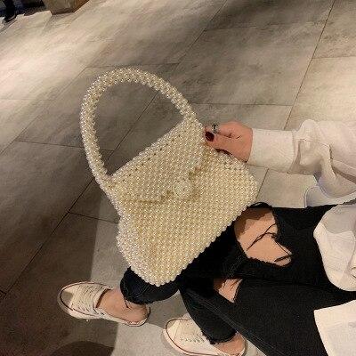 Ontwerp Hand geweven Parel Tas Vrouwen Schouder Messenger Retro Fashion Mini Strand Reistas Avondfeest Handtas Mode-in Top-Handle tassen van Bagage & Tassen op  Groep 1