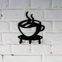3 ganchos de metal preto copo café em forma gancho titular chave do banheiro montagem na parede rack decoração gancho organizador