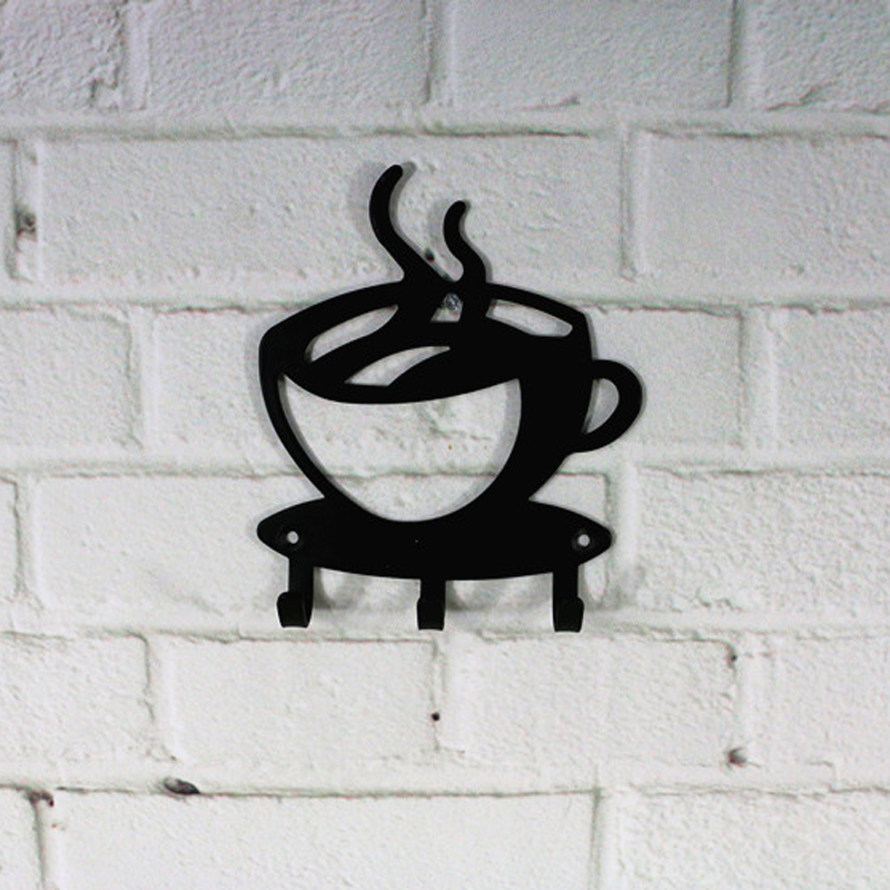 3Hooks Metal Black Coffee Cup Shaped Hook Key Holder Bathroom Wall Mount Rack Decor Hanger Organizer Hook
