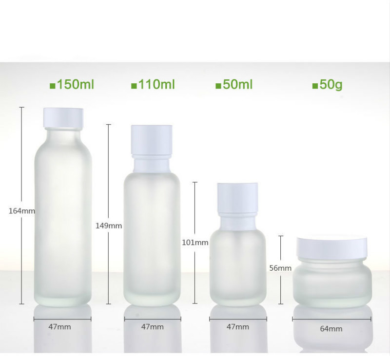 Empty Cosmetic Glass Toner Bottle 50ml 110ml 150ml Frosted Glass Lotion Pump Bottle Emulsion Packaging 50G