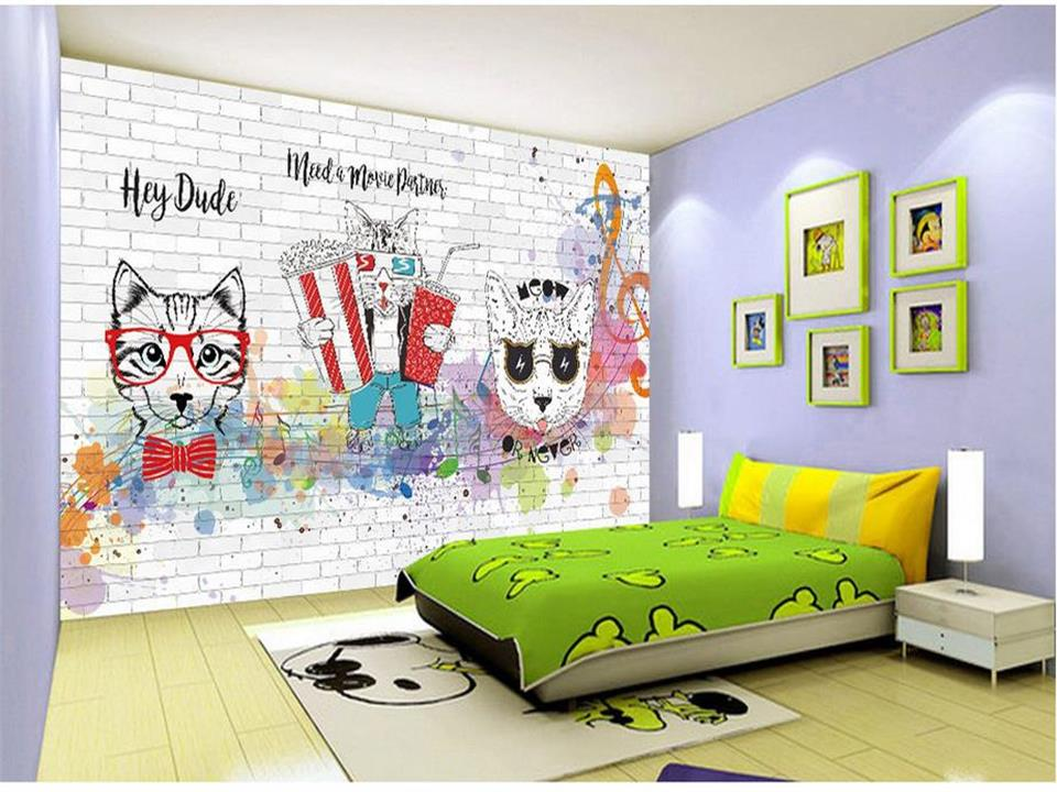 custom size 3d photo wallpaper kids room mural hand drawn cartoon cat notes painting background non-woven wallpaper for wall 3d