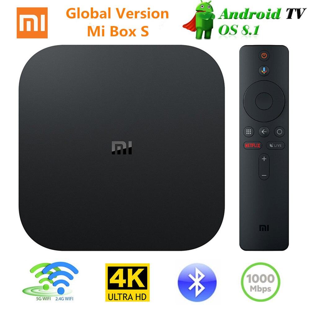 [Version mondiale] Xiao mi Tv Box S Android 8.1 4K QuadCore Smart TV Box 2GB 8GB 2.4G 5.8G WiFi BT4.2 Mali450 1000Mbp VS mi BOX 3